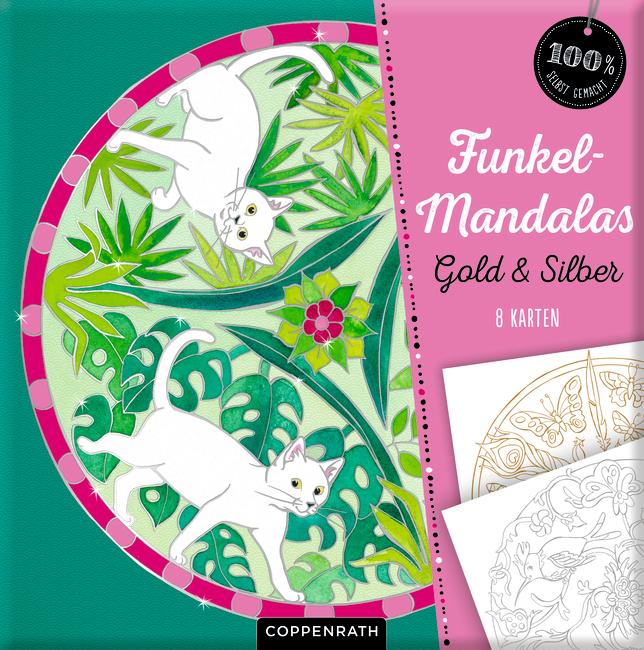 Funkel-Mandalas Gold & Silber - 8 Karten (100% s.g.)