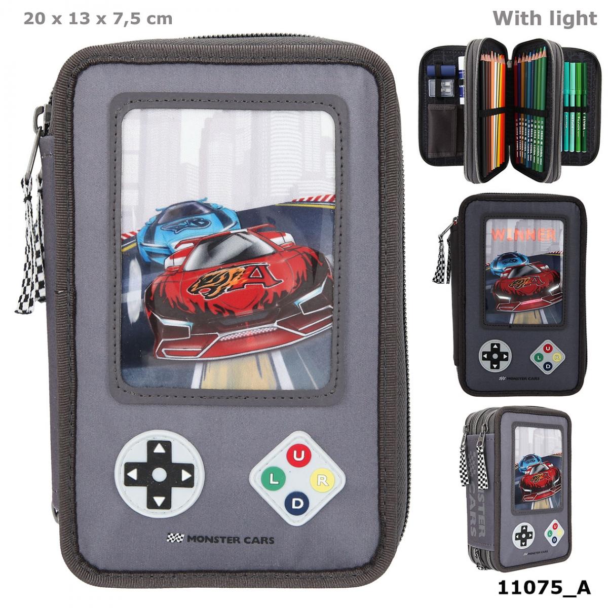 Monster Cars 3-Fach Federtasche LED Gamer