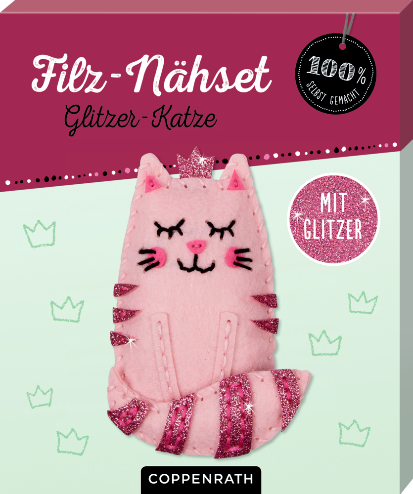 Ruck, zuck kreativ! Filz-Nähset Glitzer-Katze (100% s.g.)