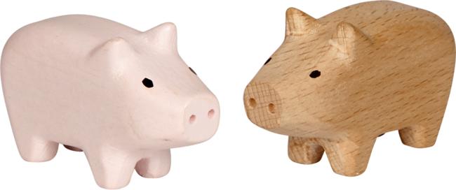 Mini-Holzschweinchen Viel Glück, sort.