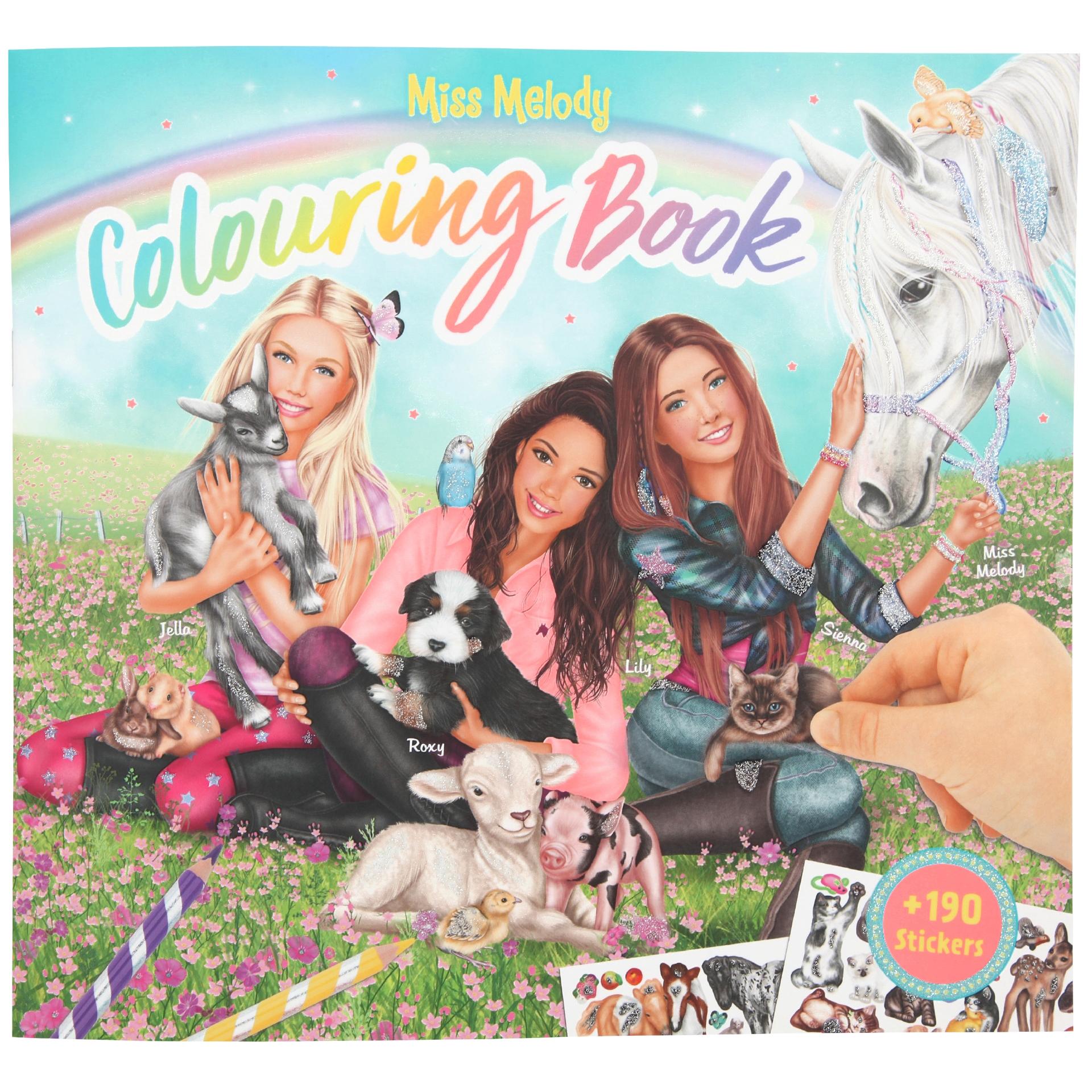 Miss Melody Colouring Book - Mal- und Stickerbuch mit Tierkindern