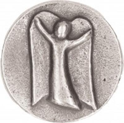 Engel Plakette aus Neusilber - mit Magnet und selbstklebendem Metallplättchen
