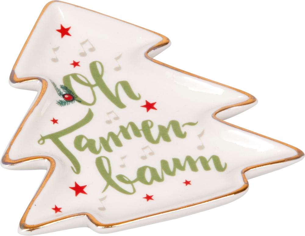 """Kl. Porzellan-Teller """"Alle Jahre wieder …"""" - Tannenbaum"""