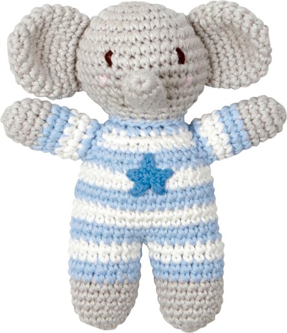 Häkel-Rassel Elefant BabyGlück, hellblau