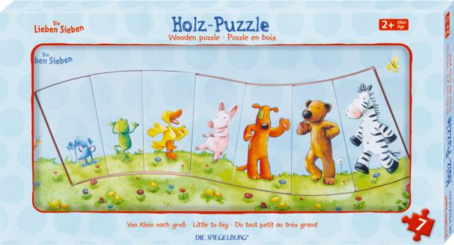 """Holz-Puzzle """"Von klein nach groß"""" Die Lieben Sieben (7 T.)"""